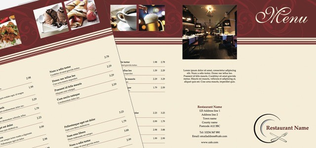 Tri fold leaflet restaurant menu istudio publisher
