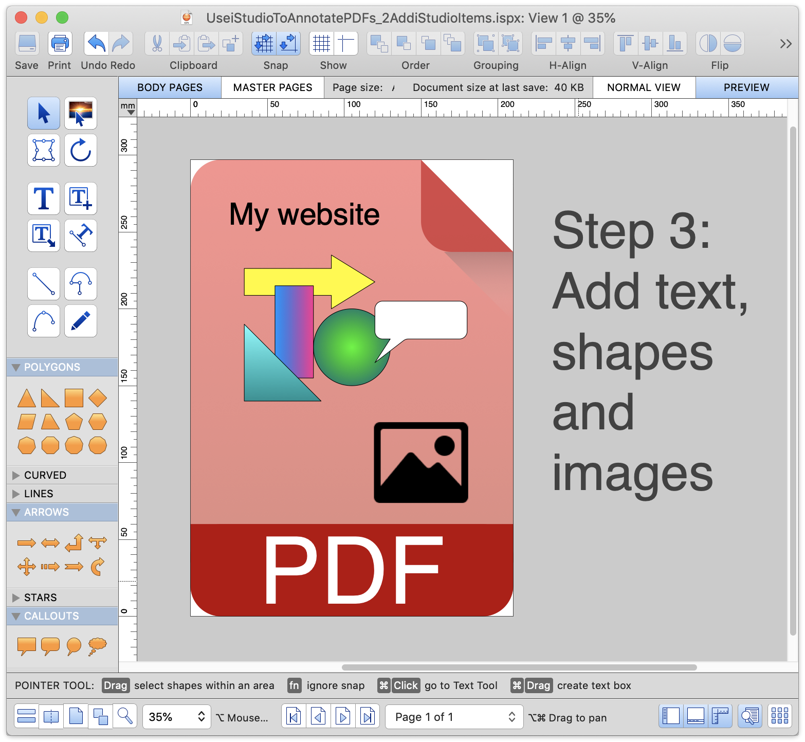 Annotate the PDF with text, shapes and images. Add hyperlinks to any of these items