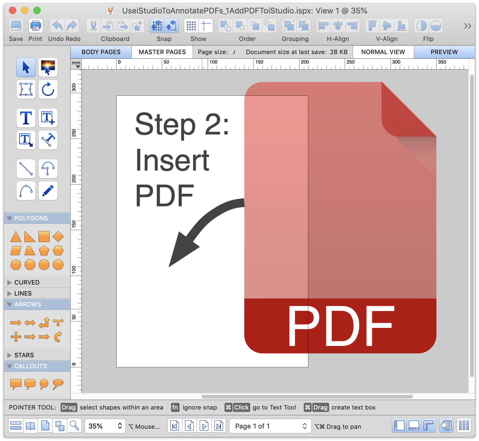 Insert a PDF into a new iStudio document