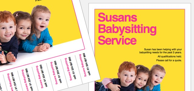 Flyer with tear off babysitting service iStudio Publisher – Tear off Flyer Template