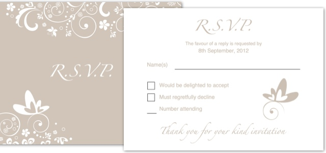 Invitation wedding rsvp istudio publisher page for Rsvp cards for weddings templates