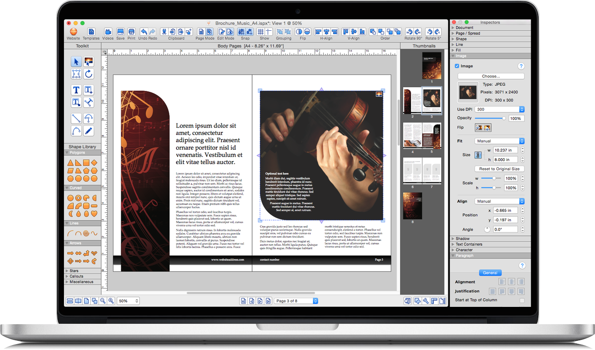 iStudio Publisher - page layout software for desktop publishing on Mac