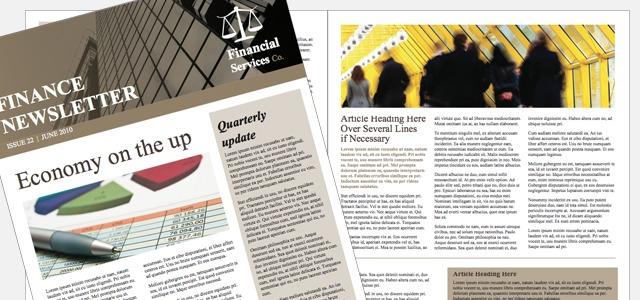 newsletter financial company theme istudio publisher page layout software for desktop. Black Bedroom Furniture Sets. Home Design Ideas